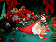 Kitteh Prints - Christmas Kittens - Kitty Cat Chewing on Santas Hat - Red Xmas Bows and Poinsettia Flower Basket Print by Chantal PhotoPix
