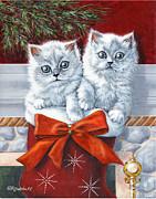 Christmas Kittens Print by Richard De Wolfe