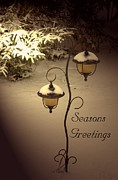 Christmas Card Digital Art Metal Prints - Christmas Lanterns 2 Metal Print by Joanne Smoley