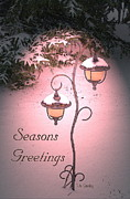 Christmas Card Digital Art Metal Prints - Christmas Lanterns Metal Print by Joanne Smoley