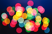 Round Photo Prints - Christmas lights abstract Print by Elena Elisseeva