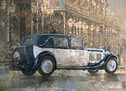 Old Building Metal Prints - Christmas Lights and 8 litre Bentley Metal Print by Peter Miller