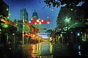 Michael Digital Art Posters - Christmas Lights at 3 Georges in Mobile AL Poster by Michael Thomas