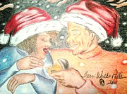 Sparkle Drawings Posters - Christmas Love Poster by Terri Walker Pullen