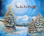 Snowy Night Painting Posters - Christmas Magic Poster by Shana Rowe