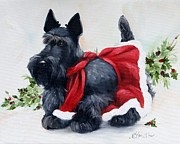 Scottish Terrier Puppy Prints - Christmas  Print by Mary Sparrow Smith