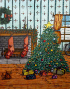 Presents Drawings Prints - Christmas Memories Print by Ross Powell
