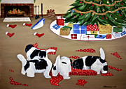 Puppies Painting Originals - Christmas Mischief by Sharon Nummer