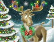 Lights Digital Art Framed Prints - Christmas Moose Framed Print by Hank Nunes