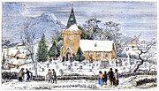 Church Yard Framed Prints - Christmas Morning, 1837 Framed Print by Granger