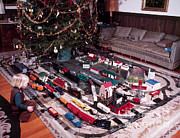 Toy Train Prints - Christmas Morning, 1957 Print by Photo Researchers