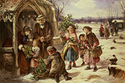 December Painting Framed Prints - Christmas Morning Framed Print by Thomas Falcon Marshall