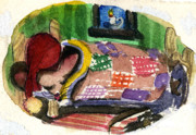 Quilt Drawings Posters - Christmas Mouse Poster by Mindy Newman