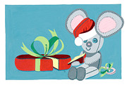 Santa Claus Paintings - Christmas Mouse by Terry Taylor