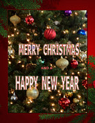 Wishes Mixed Media Posters - Christmas New Year Card Poster by Debra     Vatalaro