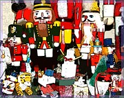 Nutcrackers Prints - Christmas Nutcrackers Print by Mindy Newman