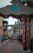 Store Fronts Framed Prints - Christmas on Aviles Street Framed Print by DigiArt Diaries by Vicky Browning
