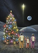 Father Christmas Prints - Christmas On The Moon, Space Art Print by Richard Bizley