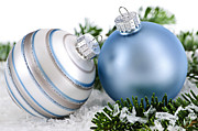 Sparkling Prints - Christmas ornaments Print by Elena Elisseeva