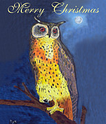 Greece Mixed Media Prints - Christmas Owl Print by Eric Kempson