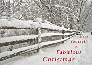 Snow Covered Fence Framed Prints - Christmas Path Framed Print by Michael Peychich