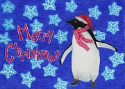 Penguin Drawings - Christmas Penguin by Jessica Hallberg