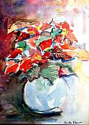 Bethlehem Drawings Prints - Christmas Poinsettia Print by Mindy Newman