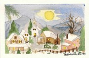 Christmas Card Drawings Framed Prints - Christmas post-card no4 Framed Print by Kostas Koutsoukanidis
