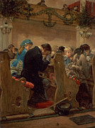 Crowds Paintings - Christmas Prayers by Henry Bacon