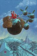 Snowy Night Night Digital Art Prints - Christmas Pudding Santa Ride Print by Martin Davey
