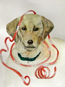 Puppy Mixed Media Originals - Christmas Puppy by Terry Honstead