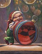 Elves Prints - Christmas Reflections Print by Leonard Filgate