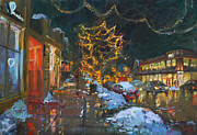 Cityscape Paintings - Christmas Reflections by Ylli Haruni