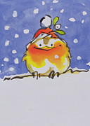 Cartoon Painting Metal Prints - Christmas Robin Metal Print by Diane Matthes