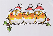 Father Christmas Paintings - Christmas Robins by Diane Matthes