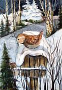 Landscape Drawings - Christmas Roof by Mindy Newman
