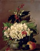 Floral Still Life Painting Prints - Christmas Roses Print by Willem van Leen