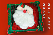 Christmas Greeting Photo Framed Prints - Christmas Santa Pillow Framed Print by Linda Phelps