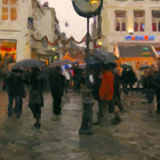 Umbrellas Digital Art - Christmas shopping in Maastricht by Nop Briex