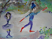 Skating Paintings - Christmas Skaters by Judith Desrosiers