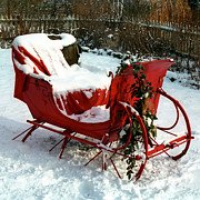 Farm Photo Prints - Christmas Sleigh Print by Andrew Fare