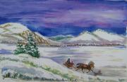 Wyoming Paintings - Christmas Sleigh by Dawn Senior-Trask
