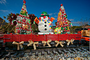 Snowman Photos - Christmas Snowman On Rails by Christopher Holmes