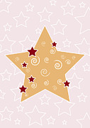 Brown Greeting Cards Prints - Christmas Star Print by Frank Tschakert