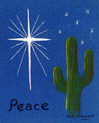 Cactus Paintings - Christmas Star Greeting Card by Judy Filarecki