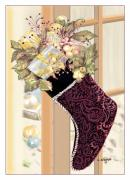 Christmas Card Digital Art Metal Prints - Christmas Stocking Metal Print by Arline Wagner