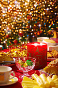 Glamorous Photo Prints - Christmas table set Print by Carlos Caetano