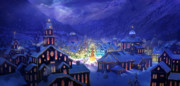 Snow Mixed Media Posters - Christmas Town Poster by Philip Straub