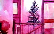 Water Color Mixed Media Framed Prints - Christmas Tree Framed Print by Anil Nene