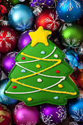 Colorful Prints - Christmas tree cookie with ornaments Print by Garry Gay